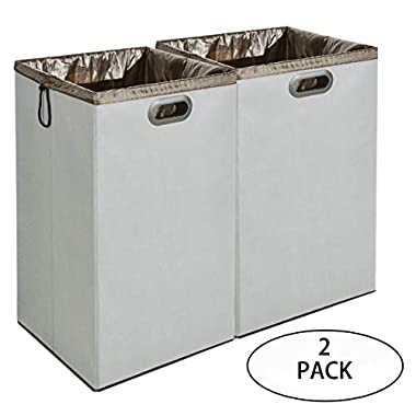 GONGSHI 2 Pack Foldable Laundry Hamper Basket with Removable Liner, Dirty Clothes Storage Organizer for Bathroom, Bedroom, Utility Room, Children's Room (Grey)