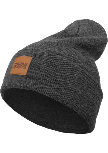 Urban Classics Leatherpatch Long Beanie Bonnet, Charcoal, Taille Unique Mixte