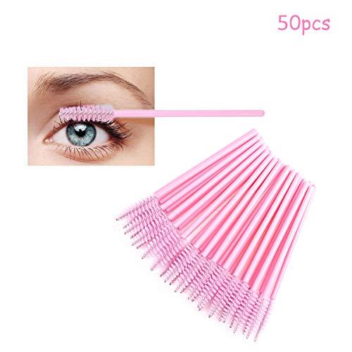 LUVODI 50PCS Desechables Cepillos de Pestañas Cepillos Desechables para Pestañas de Varitas Rímel Kit de Maquillaje Pinceles Aplicadores Color Rosa