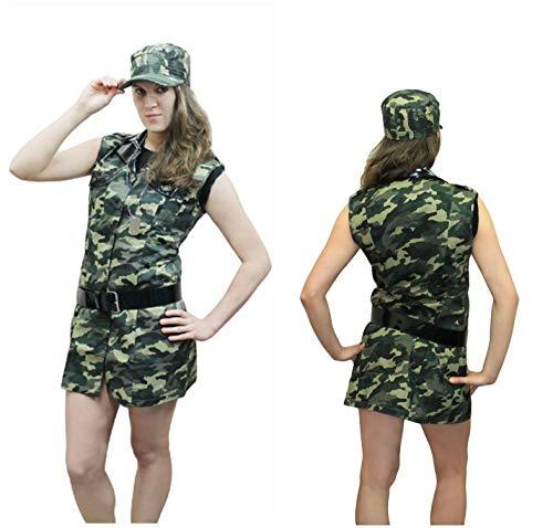 Womens Leger Camouflage Kostuum Meisjes Dames Militaire Soldaat Fancy Jurk Outfit