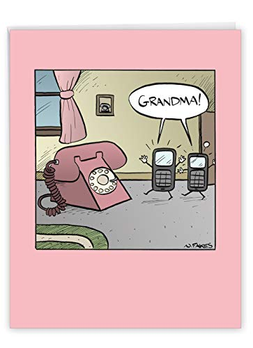 Grandma Phone - Big Hilarious Mother's Day Greeting Card with Envelope (Extra Large 8.5 x 11 Inch) - Smartphones Rotary Dial Phone Design - Notecard Stationery for Mom, Grandmother J1609MDG