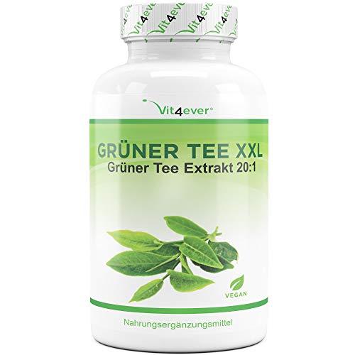 Vit4ever® Grüner Tee XXL - 360 Kapseln - Green Tea - 3400 mg pro Tagesportion - 90 Tage Anwendung - Grüntee Extrakt 20:1 - Vegan