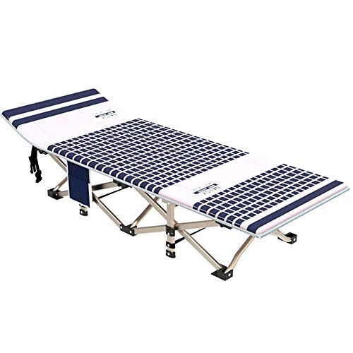 Chyuanhua Folding Lehnstuhl Bett Klappbare Aluminium Camping Bett Reise im Freien tragbares Kinderbett Faltbare Sunbed (Farbe : Blau, Größe : 186 * 71 * 35cm)