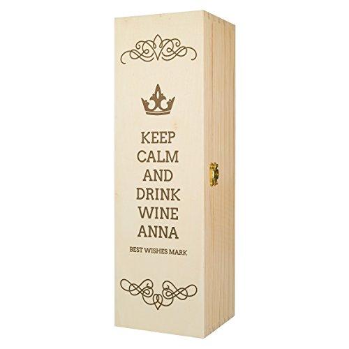 Preisvergleich Produktbild Flaschenbox Holzbox Geschenkbox Wein Flasche groß rechteckig Truhe Verpackung Deko Kiefer Natur Geschenk Jubiläum Geburtstag mit individueller Gravur 115 x 355 x 105 mm