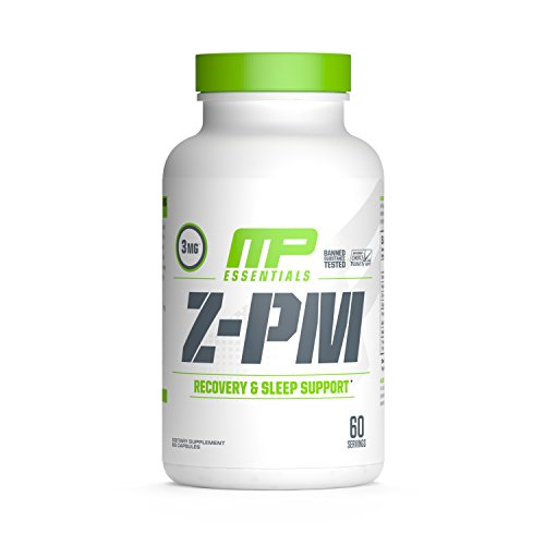 MP Essentials Z-PM, Natural Sleep-Support Supplement, Nighttime Muscle-Recovery and Sleep Aid, Healthy Testosterone Support, Melatonin, Zinc, and Magnesium, MusclePharm, 60 Servings