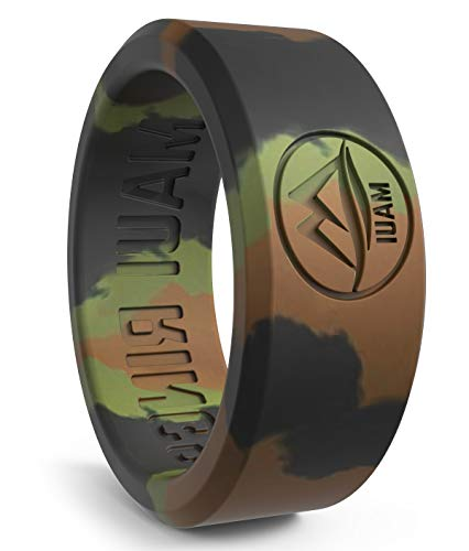 MAUI RINGS Best Silicone Wedding Ring Solid Style Engagement Rings Silicone Band for Men Wedding Rubber Bands Mens Ring Men Wedding Band Safe Ring for Active Athletes Sport Gym (CAMO, 8)