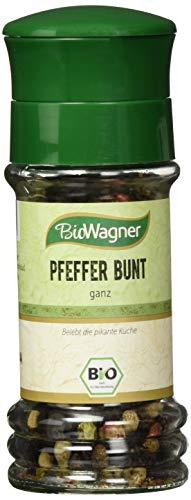 Bio Wagner Bio Pfeffer bunt ganze Körner in hochwertiger Gewürzmühle mit Keramikmahlwerk, 3er Pack (3 x 35 g)