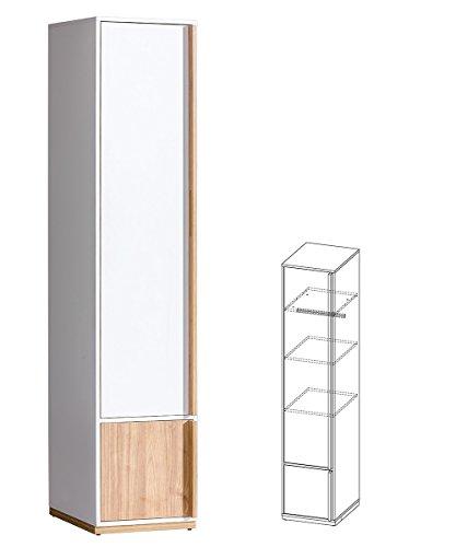 Furniture24 Kleiderschrank Schrank EVADO Brillant Weiß/Nußbaum