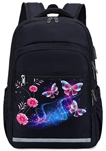 Backpack for Women Men 15.6 Inch Laptop Bookbag College School Bag with USB Port (S-Butterfly Black)