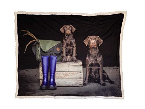 COUNTRY MATTERS So Proud - Copridivano incredibilmente Caldo e Morbido con Due Labrador Cioccolato (Mamma e Cucciolo) – Ideale per casa/Auto/Camera da Letto Ogni Amante dei Cani.