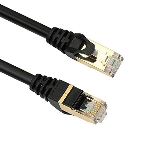 iCreatin 2-Pack CAT 7 Double Shielded 10 Gigabit 600MHz Ethernet Patch Cable, Gold Plated Plug STP Wires CAT7 for High Speed Computer Router Ethernet LAN Networking