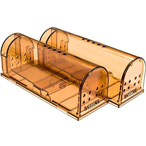 Trampa para ratones humanos, paquete de 2 trampas para ratones grandes de 20 cm, trampa de roedores reutilizable, sin matar ratones en vivo para interiores y exteriores, trampa para mascotas y niños
