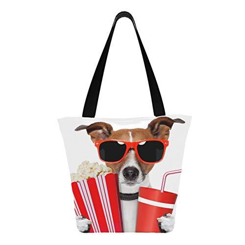 Chien avec des lunettes de soleil pop-corn et boisson Cola 11 × 7 × 13 pouces lavable en machine robuste polyester sacs à provisions Reuasble sac d'épicerie réutilisable pliable pour le
