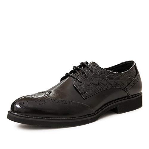 Mode Schuhe, Freizeitschuhe Herren Brogue Carving Oxfords for geschäftliche Schuhe schnüren sie oben echten Leder mit Blockabsatz Solid Color genähtes Geprägte Perforiert Persönlichkeit Schuhe, Oxford