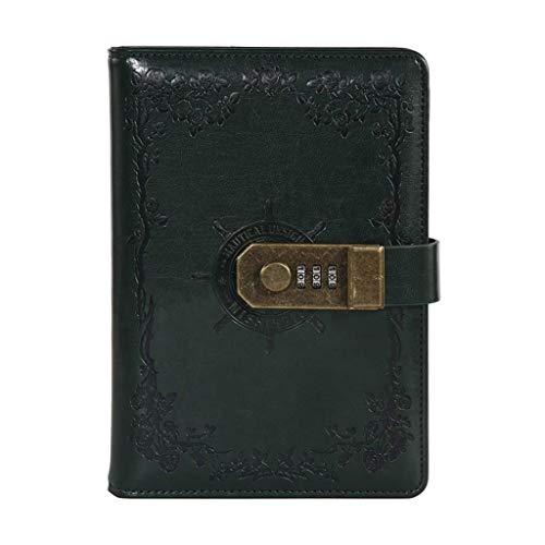 MLOZS Diario de cuero simple B6 cuaderno vintage de vela timón simple diario de tres dígitos contraseña bloqueo papelería papel grueso premium (color verde oscuro)
