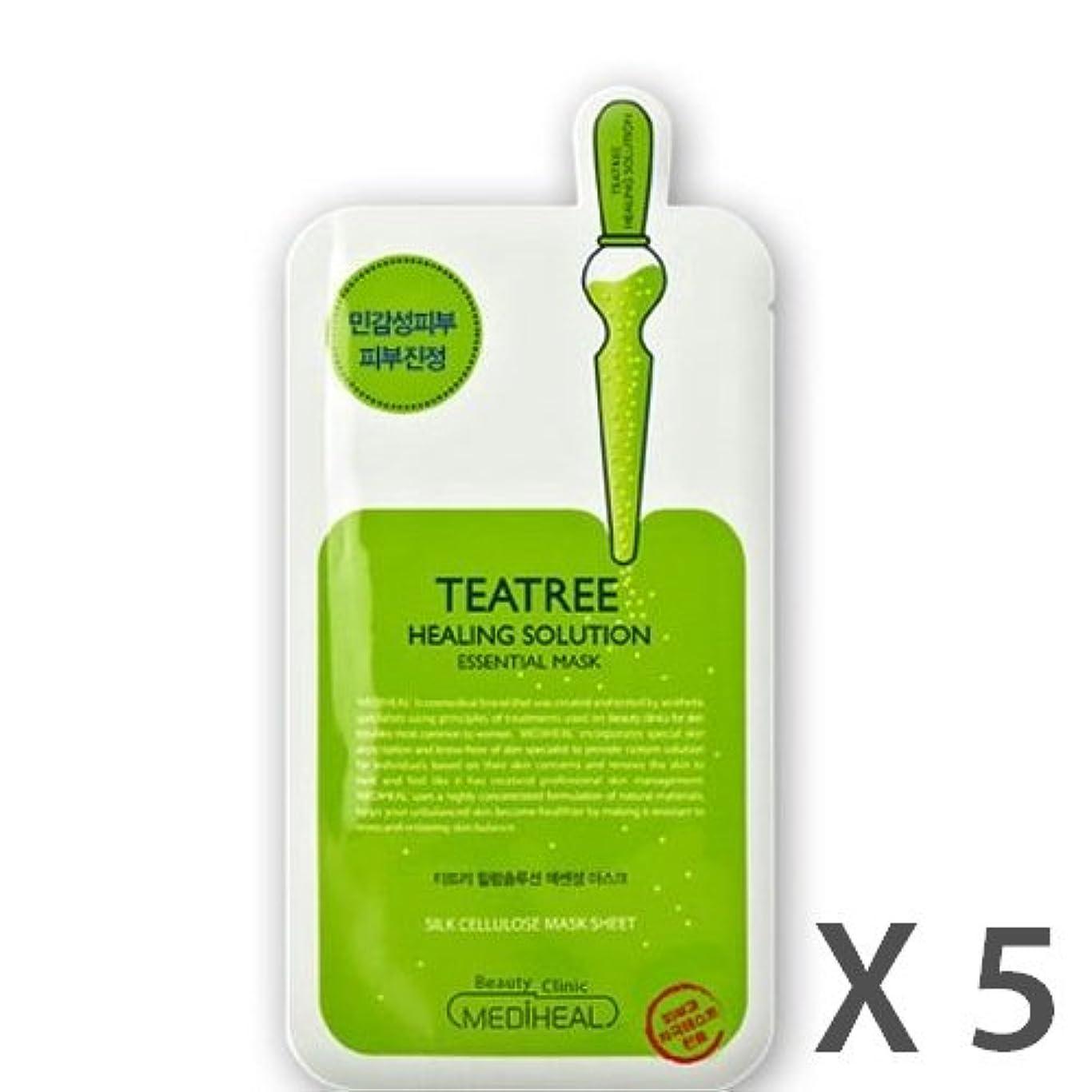 MEDIHEAL Tea Tree Healing Solution Essential Mask 5ea /メディヒール ティー ツリー ヒーリングソリューションエッセンシャルマスク 5ea [並行輸入品]