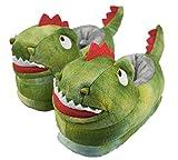 Little Kids Boys Cute Dinosaur Warm Slippers with Rubber Hard Sole Size 9-10 US Green