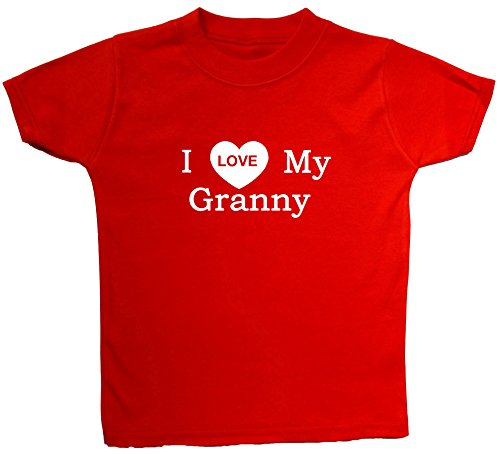 Acce Products I Love My Granny bébé/Enfant t-Shirts/Tops 0 à 5 Ans - Rouge - XXXXS