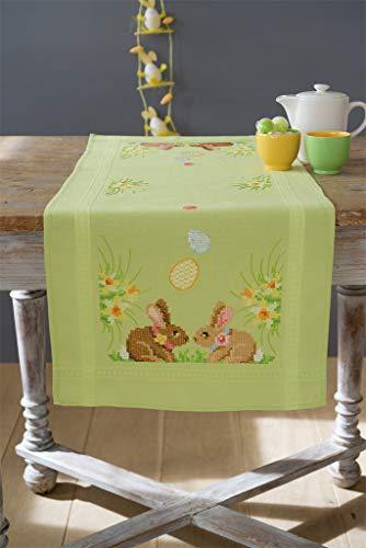 Vervaco Läufer Kaninchen/Ostern Kreuzstichpackung Stickpackung enthält vorgedruckter Tischläufer, Garn, Nadel und Anleitung. 40 x 100 cm, Aida, weiß, 40 x 100 x 0,3 cm