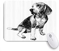 EILANNAマウスパッド 犬の友達の品種のビーグル白黒スケッチ ゲーミング オフィス最適 高級感 おしゃれ 防水 耐久性が良い 滑り止めゴム底 ゲーミングなど適用 用ノートブックコンピュータマウスマット