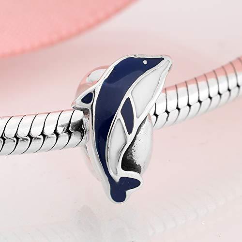 DFHTR Encantos para Mujer Plata De Ley 925 Azul Blanco Esmalte Saltando Delfín Espaciador Tapón Perlas Fit Original Charm Pulsera Fabricación De Joyas