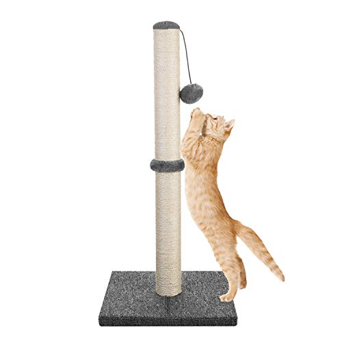 Akarden 73 cm   29   Tall Cat Scratching Post, Cat Claw Scratcher with Hanging Ball, Durable Cat Furniture with Sisal Rope, 360° Rotatable Scratch Pole, Covered with Polyester Carpet