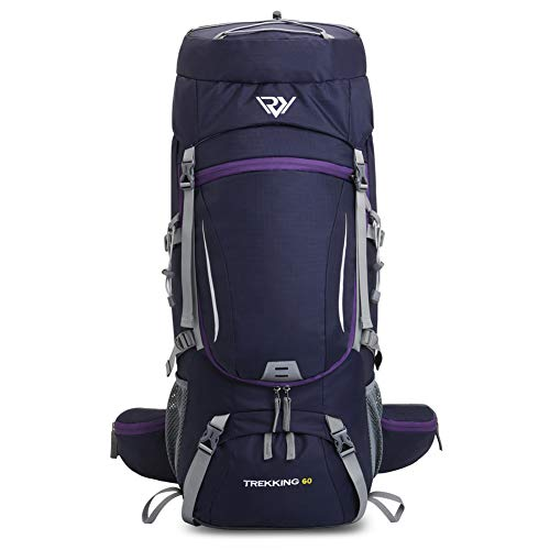 60L Waterproof Camping Backpack, Hiking Backpack with Rain Cover,Outdoor Sport Travel Lightweight Daypack (PURPLE-1)