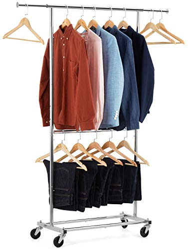 Auledio Expandable Double Rod Clothing Garment Racks On Wheels, Heavy Duty Hanging Clothes Organizer Stand Adjustable Rolling Rack, Chrome