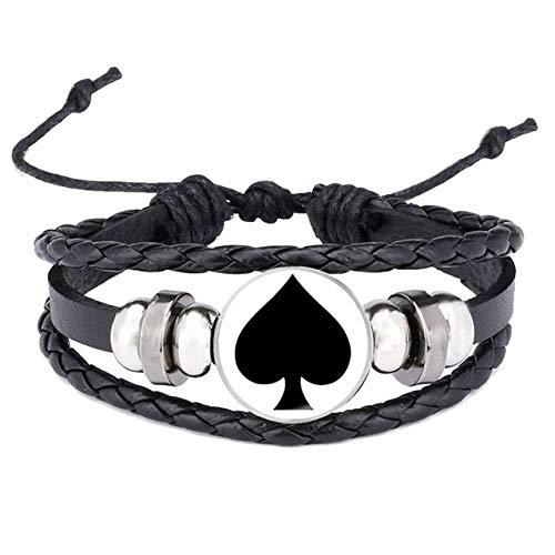 GIAO Pulsera de Cuero Trenzado de joyeria,Pulsera de Cuero de Espadas de póker, joyería de botón de Personalidad de Hombre para Mujer A