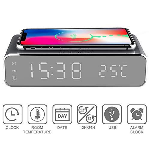 SanyaoDU 3 IN1 elektrische led-wekker telefoon draadloze oplader desktop HD digitale thermometer klok klok spiegel nieuw