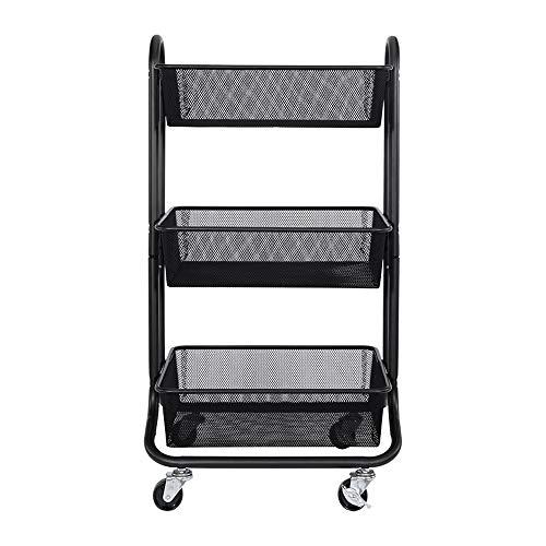 XiuHUa Rack winkelwagen, smeedijzer moderne minimalistische huis vierkant wiel opslag rack kinderwagen, 3 kleuren beschikbaar opslag trolley