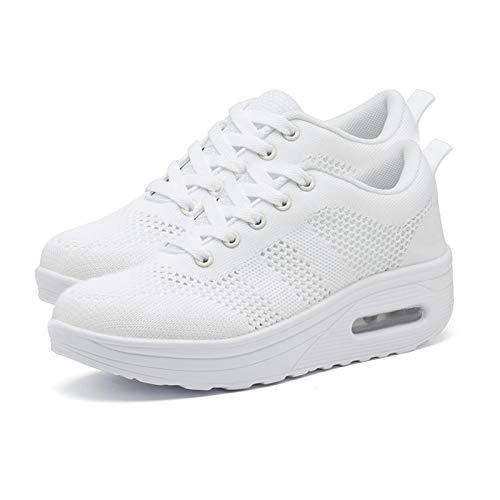 Buty trekkingowe, damskie na jesień zima dzianinowa tkanina siatkowa oddychające sznurowane buty do chodzenia trampki biały 42 EU