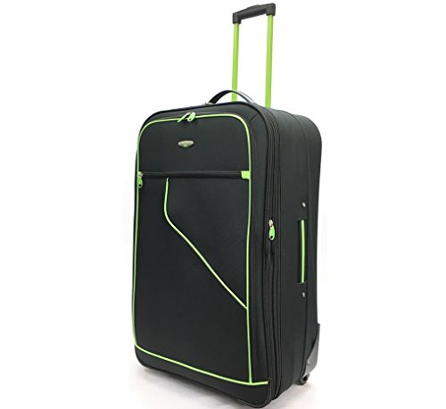 """29"""" Large Super Lightweight Expandable Durable Hold Luggage Suitcase Trolley Case Travel Bag with 2 Wheels (29' Large, Black/Lime)"""