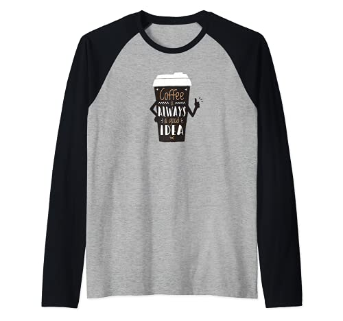 Coffee Lover Gift Espresso Latte Art Cafe Black Camiseta Manga Raglan