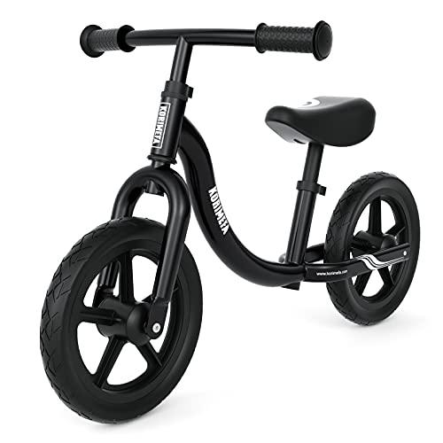 KORIMEFA Bicicletta Bambini Senza Pedali 2-5 Anni Bici Senza Pedali per Bambini 2 Anni Ragazzo e Ragazza (Nero)