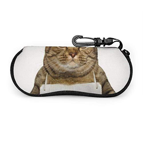 Gafas de sol de gato cortadas con hebilla de bloqueo Bolsa suave Funda de gafas con cremallera de tela de buceo ultraligera