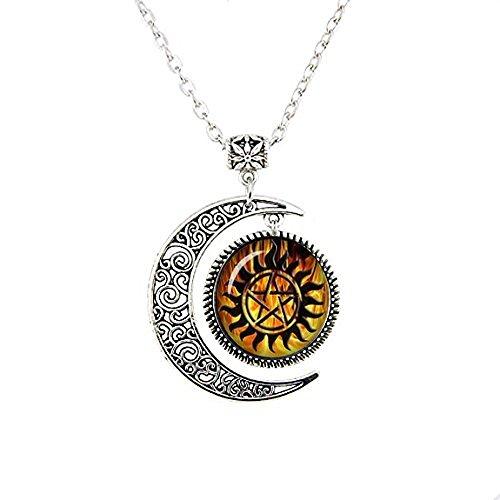 qws Winchester Anti-Dämonen-Tattoo Supernatural Mond Halskette Supernatural