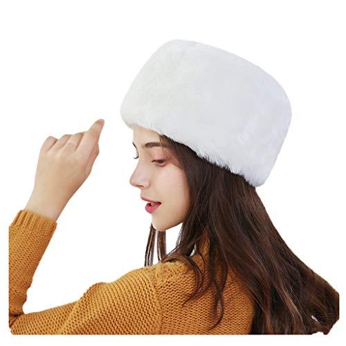 RISTHY Sombrero de Mujer de Piel Sintética para el Invierno con Gorro Blanco Cálido Estilo Ruso Elástico