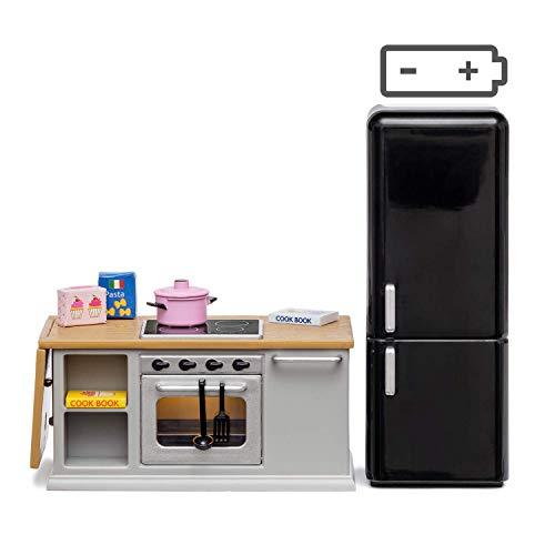 Lundby 60-201800 - Küchenmöbel Herd Puppenhaus - Möbel 10-teilig - Puppenhauszubehör - Küchenzeile - Ofen - Kühlschrank - LED-Beleuchtung - Kücheninsel - Zubehör - ab 4 Jahre - Minipuppen 1:18