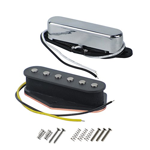 FLEOR Set Vintage Alnico 5 Gitarrenbrücke/Chromhals-Tonabnehmer (50 mm / 55 mm) Fit Fender Telecaster Style Gitarre