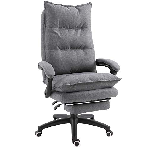 Vinsetto 360° Swivel Executive Home Office Chair Adjustable Height Linen Style Fabric Recliner with Retractable Footrest and Double Padding, Grey