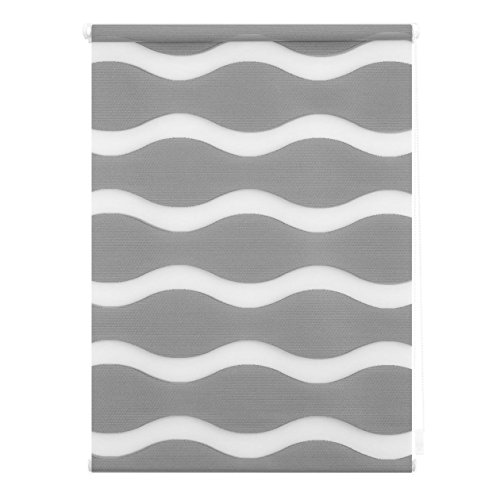 Lichtblick Doppelrollo Welle Klemmfix, 100 cm x 150 cm (B x L) in Grau, ohne Bohren, Duo Rollo mit Jalousie-Funktion, dekorativer Sonnen- & Sichtschutz, für Fenster & Türen