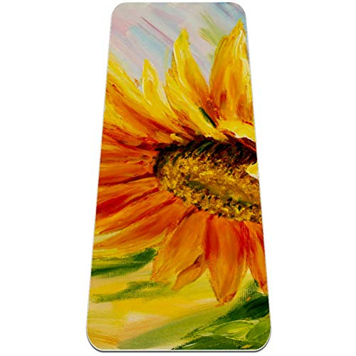 Sunflower oil painting on canvas Yoga Mat - Eco Friendly, Nonslip for Hot Yoga; Travels Easily in Your Yoga Bag; Comes with Yoga Mat Strap ; Best, Thick, Organic Mat for Exercise, Pilates and Yoga;