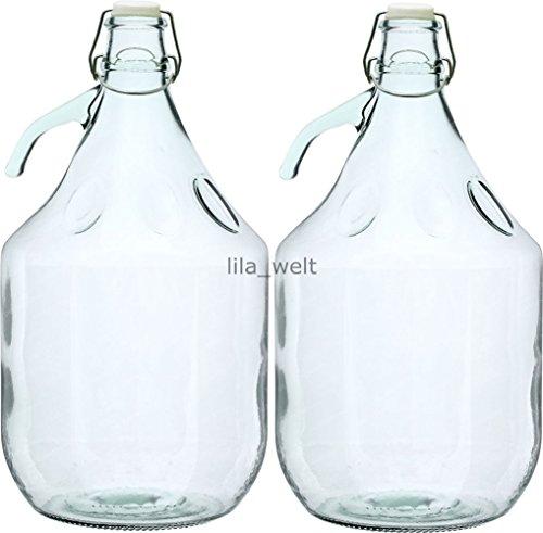 Unbekannt 2 STÜCK 5L Gärballon mit BÜGELVERSCHLUSS Flasche Glasballon Weinballon Bügelflasche Glasflasche