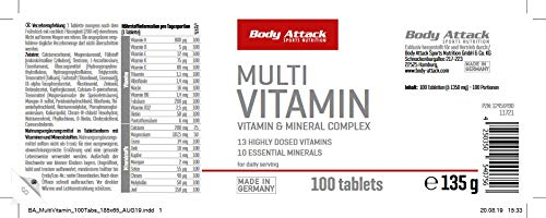 Body Attack Multi Vitamin, 200 Tabletten, 2er Pack (2x 140g), Dose - 2