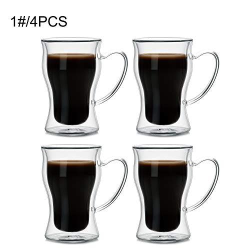DreamyLife 250ml Doppelwandige Gläser - Espressotassen mit Henkel - Latte Macchiato Cappuccino Gläser - Wassergläser aus Borosilikatglas, 4-teilig