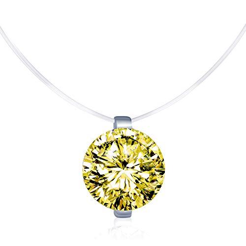 Collares Mujer, Infinito U Collares Invisible Colgantes de Diamante Amarillo, en Plata de Ley 925 Cadena Nylon Transparente con Colgantes