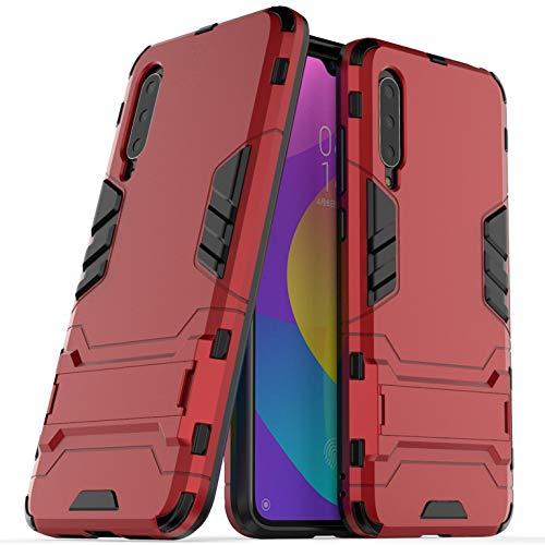 Funda Xiaomi Mi 9 Lite, Fundas 2in1 Dual Layer Anti-Shock 360° Full Body Protección TPU Silicona Gel Bumper y Duro PC Armadura con Soporte Carcasa para Xiaomi Mi 9 Lite, Rojo