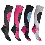 i-Smalls 4 Paar Hochleistungs Girl`s Ski Socken Lang Schlauch Thermal Socken 26.5-30.5