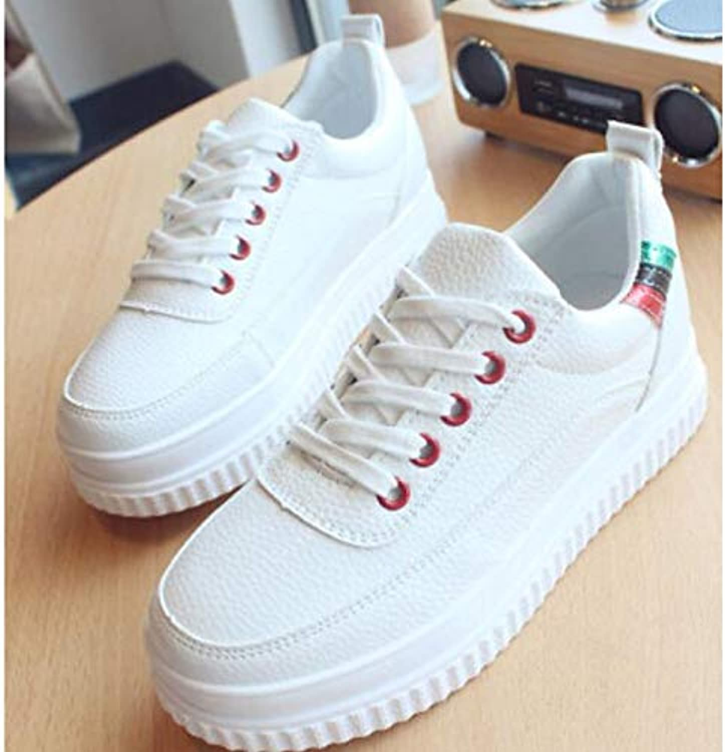 Women's Comfort shoes Faux Leather Spring & Fall Sneakers Flat Heel White Red